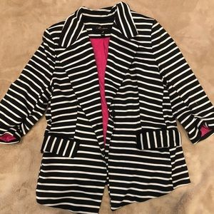 Black and white striped Ponte knit jacket